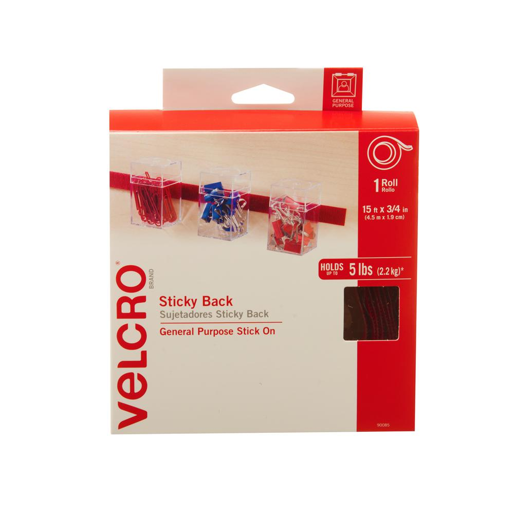 Secu Strip Velcro Brand 15 Ft X 3 4 In Box Of Sticky Back Tape Red