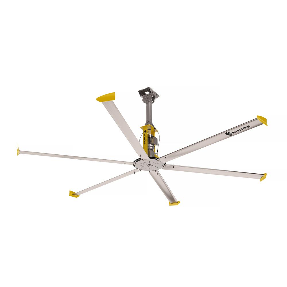 Large Indoor Fans Big Ass Fans 4900 14 Ft Indoor Silver And Yellow Aluminum Shop Ceiling Fan With Wall Control