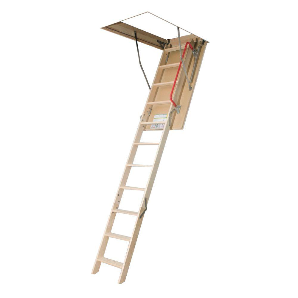 Pull Down Stairs For Loft 10 Ft 1 In 54 In X 30 In Insulated Wood Attic Ladder With 300 Lb Load Capacity Type Ia Duty Rating
