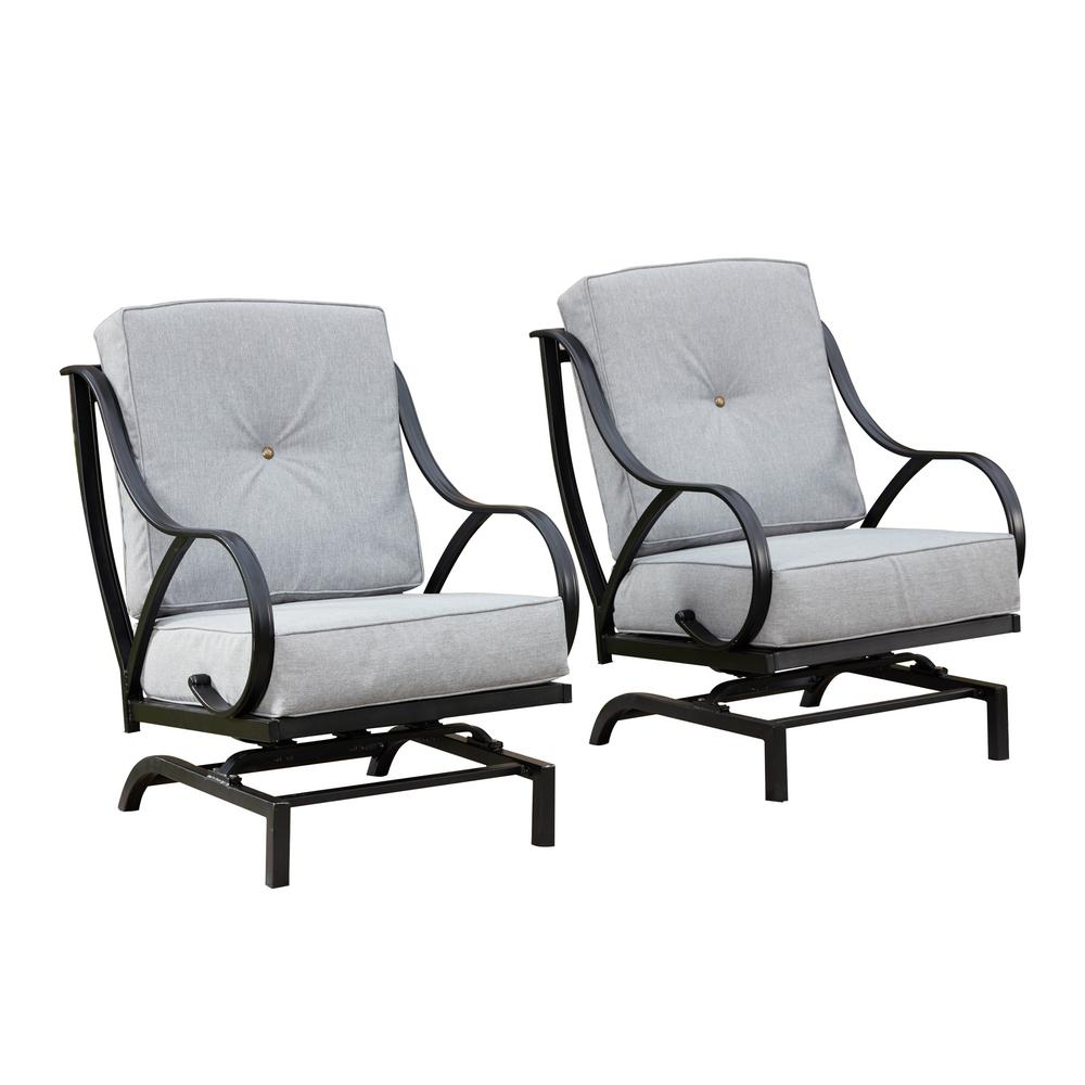 Cushion Chair Patio Festival Rocking Metal Outdoor Lounge Chair With Gray Cushion 2 Pack