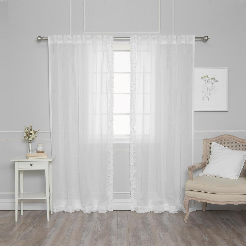 Ruffle Curtain Panel Best Home Fashion 84 In L White Faux Linen Charleston Small Ruffle Curtain Panel 2 Pack