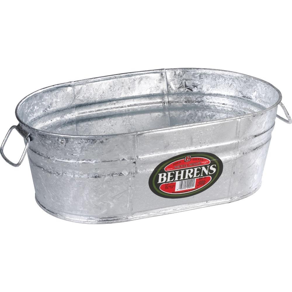 Metal Wash Bin 4 Gal Hot Dipped Steel Oval Tub