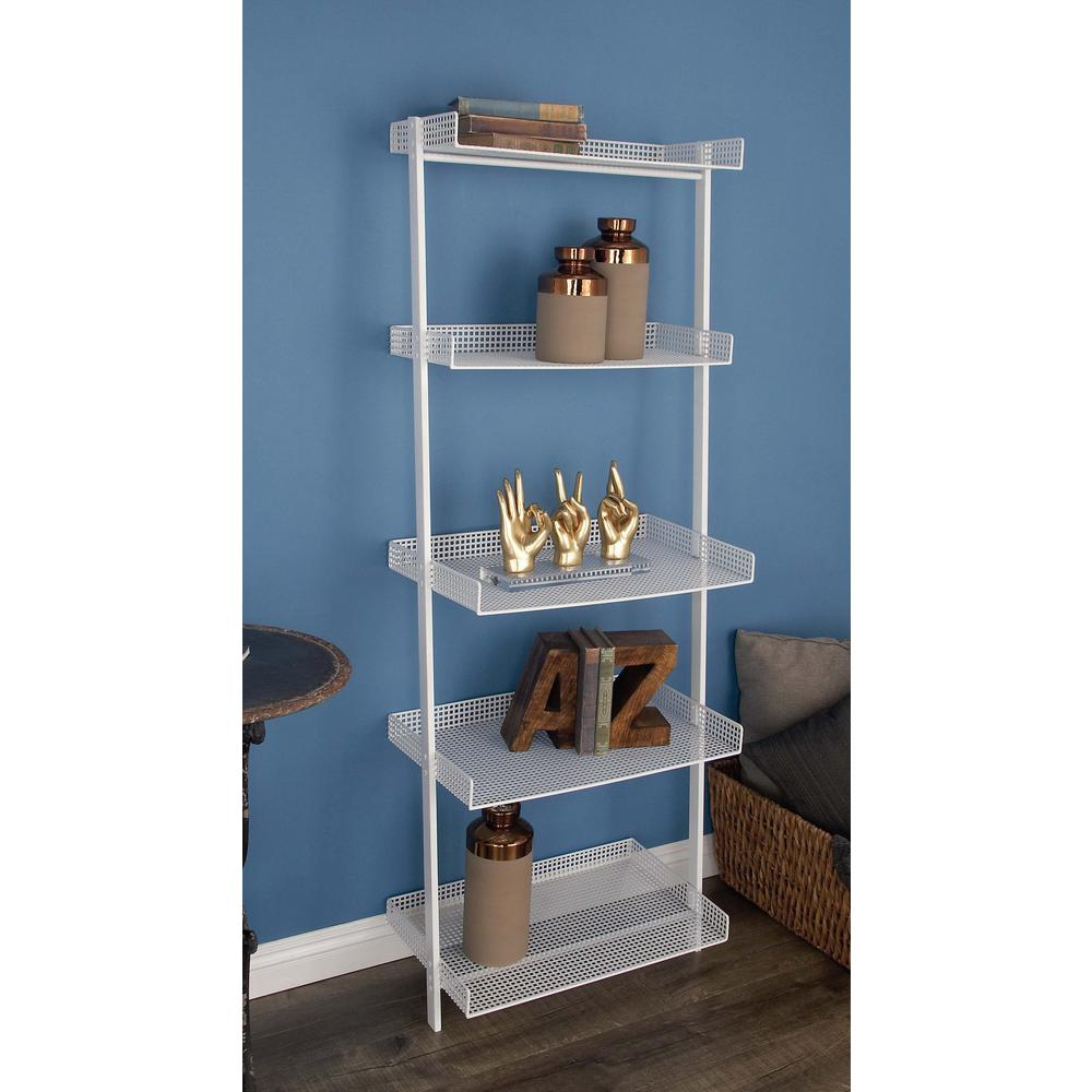 23 In X 62 In 5 Tier Iron Leaning Wall Shelf In White