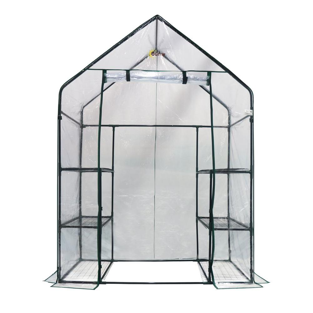 Serre Tunnel 3 X 6 Ogrow 56 In W X 29 In D Deluxe Walk In 3 Tier 6 Shelf Portable Greenhouse