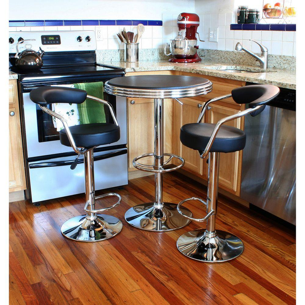 Table And Bar Stools Amerihome Retro Style 37 In Adjustable Height Bar Table Set In