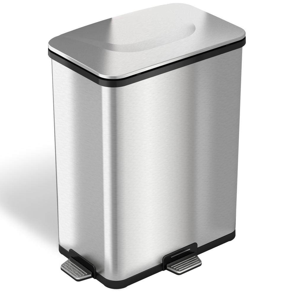 Small White Trash Can With Lid Itouchless 13 Gal Fingerprint Proof Stainless Steel Step Sensor Trash Can