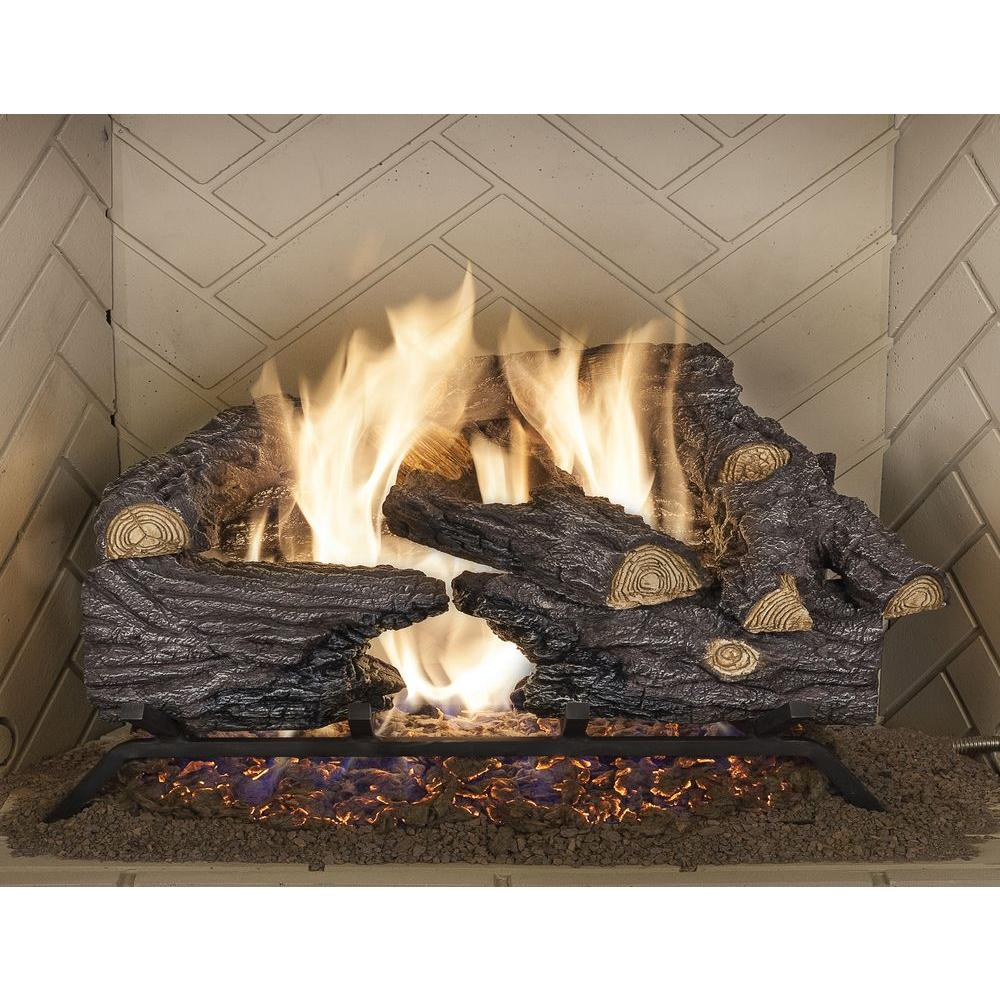 Ceramic Logs For Gas Fireplace Emberglow 18 In Split Oak Vented Natural Gas Log Set