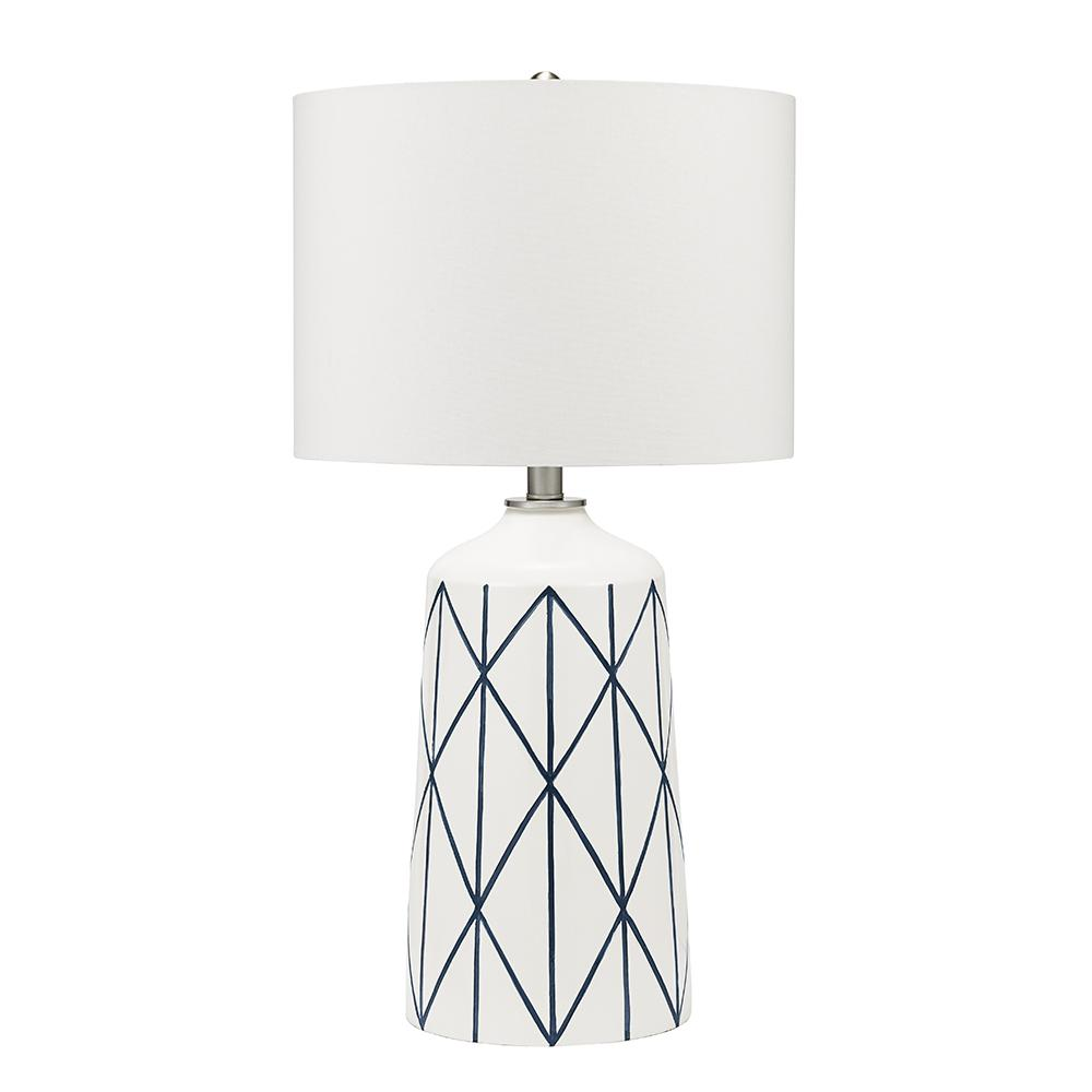 Coastal Lamps Cresswell 32 In White And Blue Coastal Geometric Table Lamp