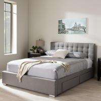Baxton Studio Rene Gray Queen Upholstered Bed-28862-7060 ...