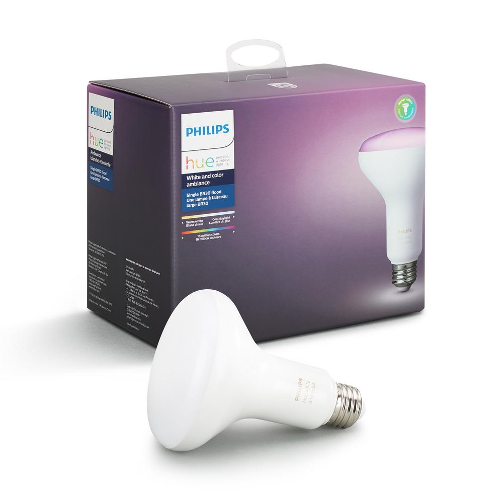 Philips Hub Philips Hue White And Color Ambiance Br30 Led 65w Equivalent Dimmable Smart Wireless Flood Light