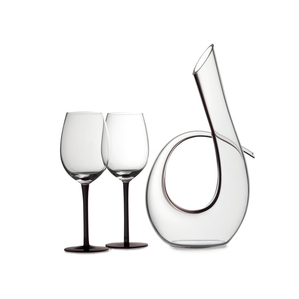 Decanter Wine Glas Sensations 620 Ml Decanter And Wine Glass In Black Set Of 3