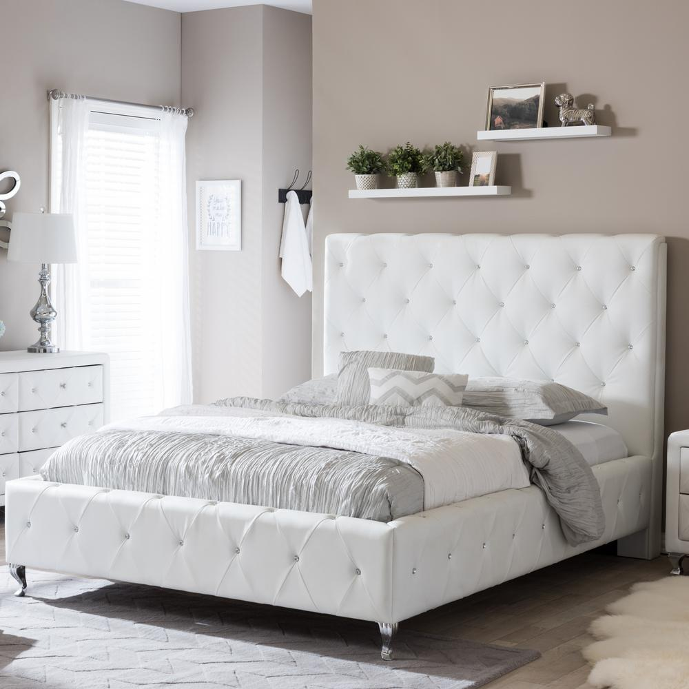 Size Of Queen Bed Stella Transitional White Faux Leather Upholstered Queen Size Bed