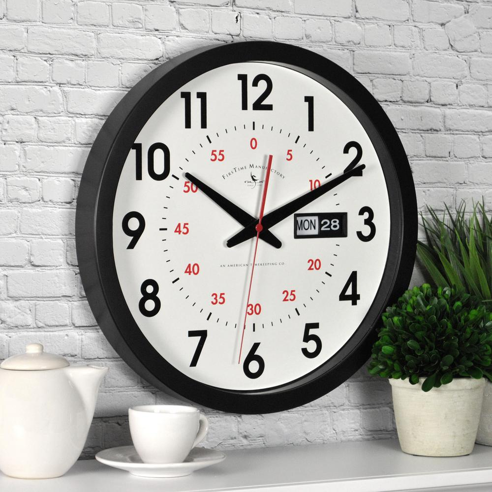 & Wall Clock Firstime 14 In X 14 In Round Day Date Wall Clock