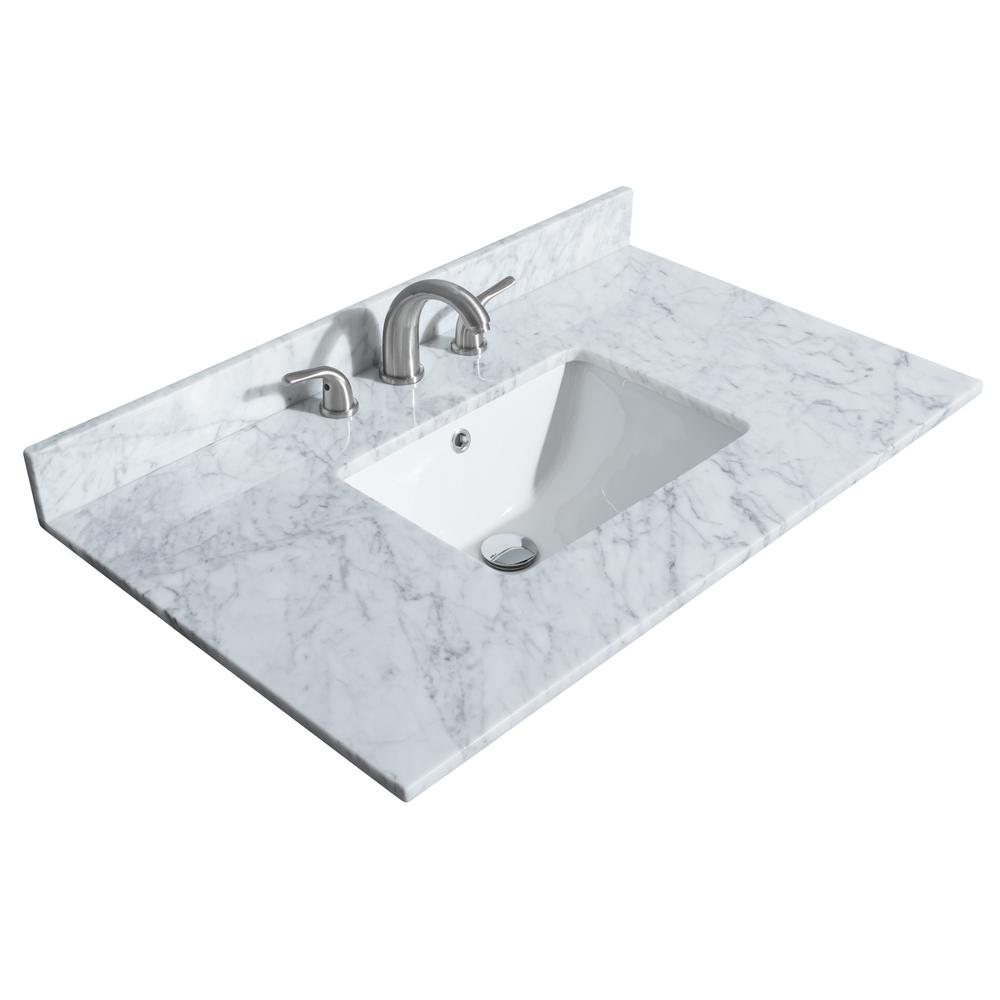 Marble Basin Wyndham Collection Deborah 36 In W X 22 In D Marble Single Basin Vanity Top In White With White Basin