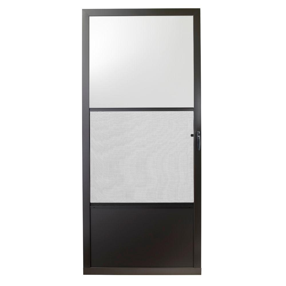 Storm Doors Edmonton Emco 32 In X 80 In 75 Series Bronze Self Storing Storm Door