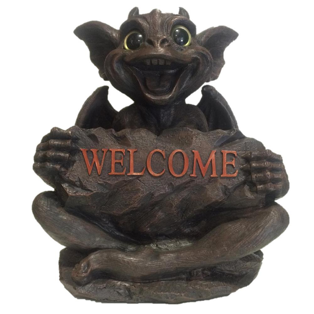 Welcome Statues Garden Homestyles 13 In Big Sister Natasha Gargoyle With Gold Eyes Holding Welcome Sign Home And Garden Statue