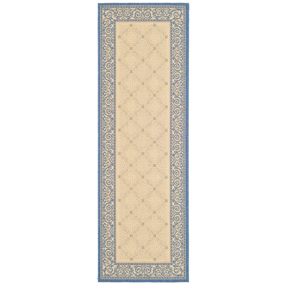 Safavieh Courtyard Safavieh Courtyard Natural Blue 2 Ft X 14 Ft Indoor Outdoor Runner Rug