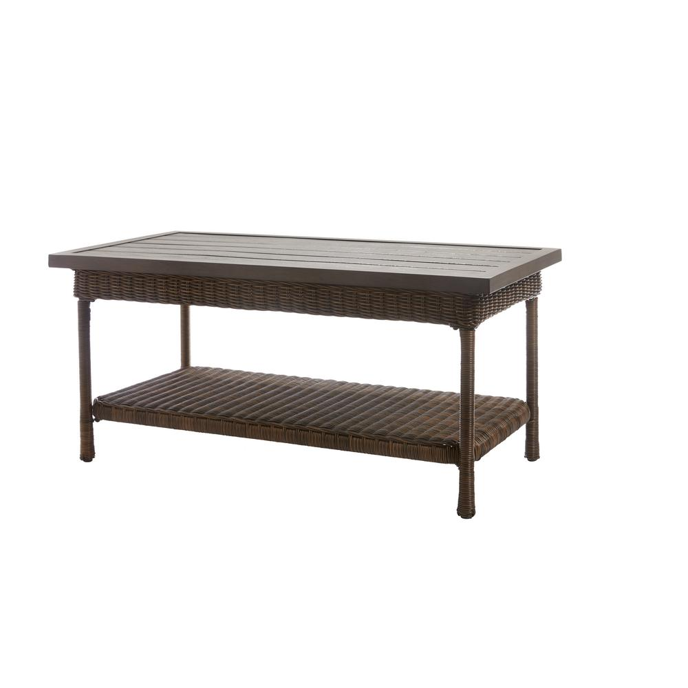 Metal Coffee Table Hampton Bay Beacon Park Wicker Outdoor Coffee Table With Slat Top