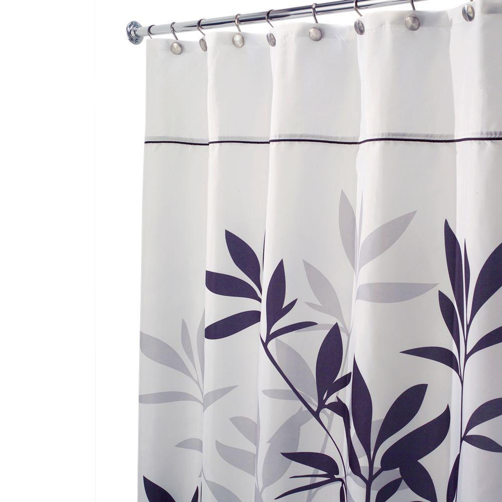 Long Shower Curtain Interdesign Leaves Long Shower Curtain In Black And Gray