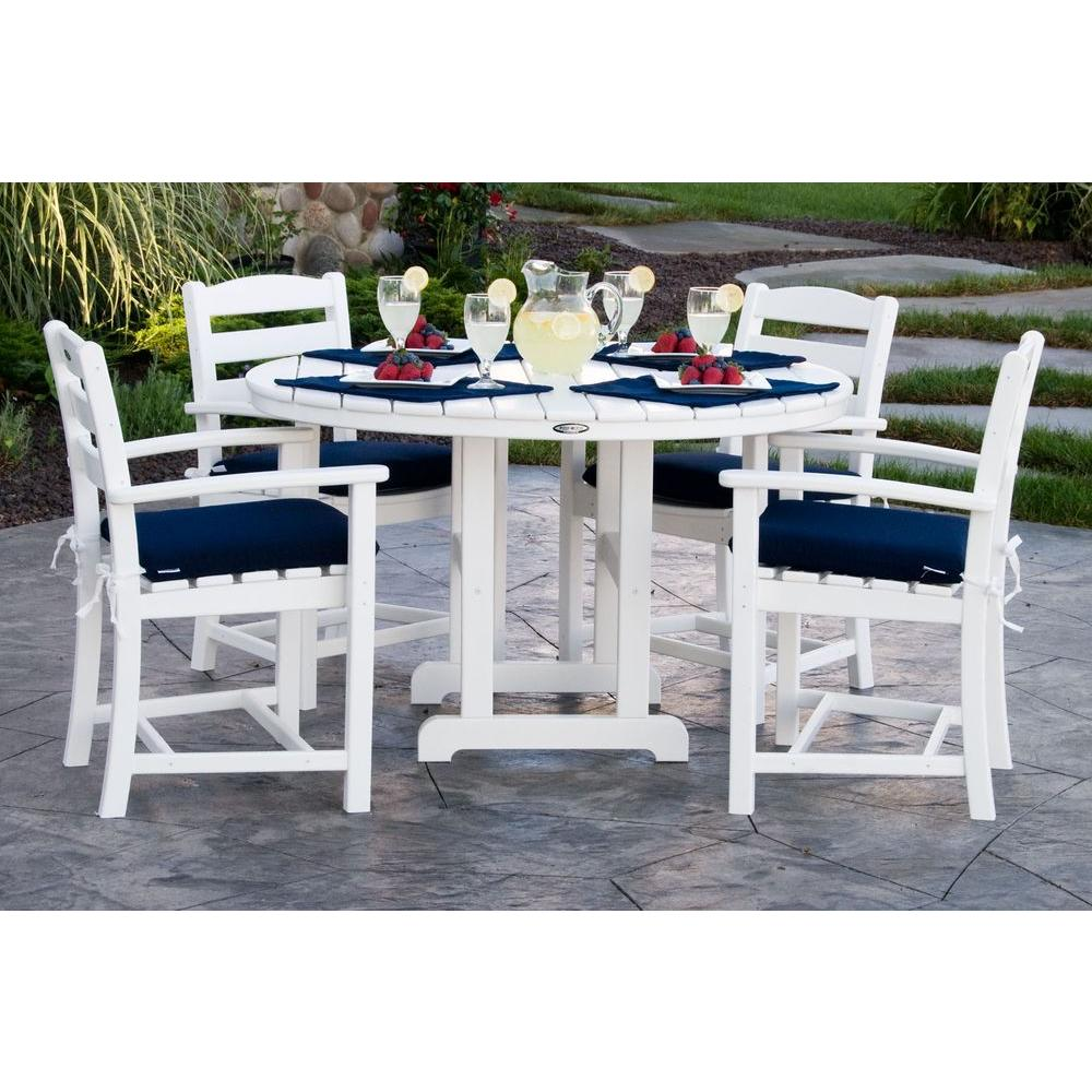 Outdoor Patio Furniture Dining Table Polywood La Casa Cafa White 5 Piece Plastic Outdoor Patio Dining Set With Sunbrella Navy Cushion
