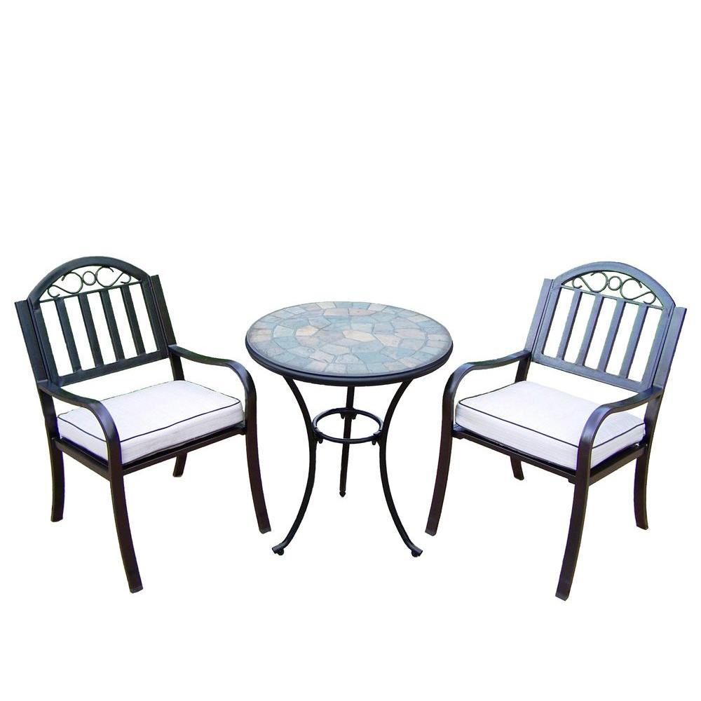 Living24 Möbel Oakland Living 24 In Table And Stone Art Rochester 3 Piece Patio Bistro Set With Solid Cushions