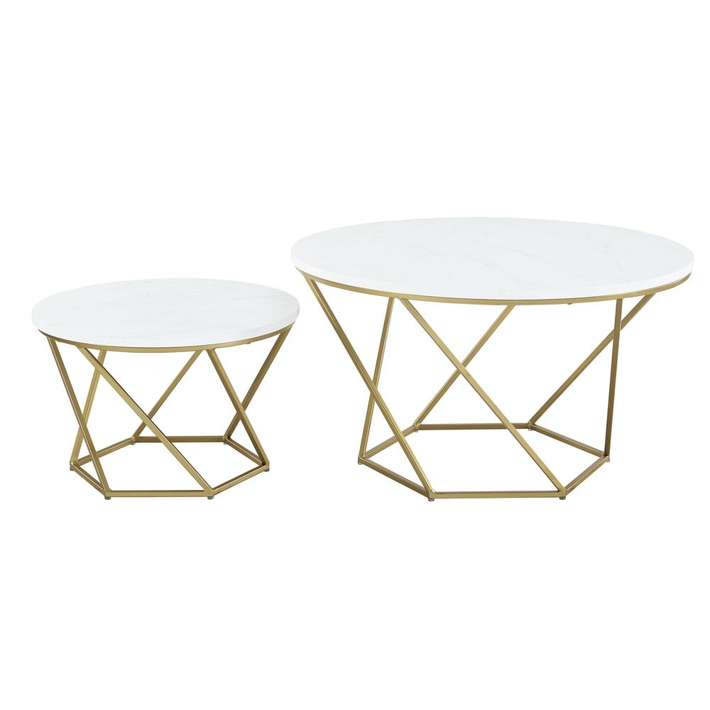 Gold Nesting Coffee Table Walker Edison Furniture Company Geometric Faux White Marble Gold Nesting Coffee Tables