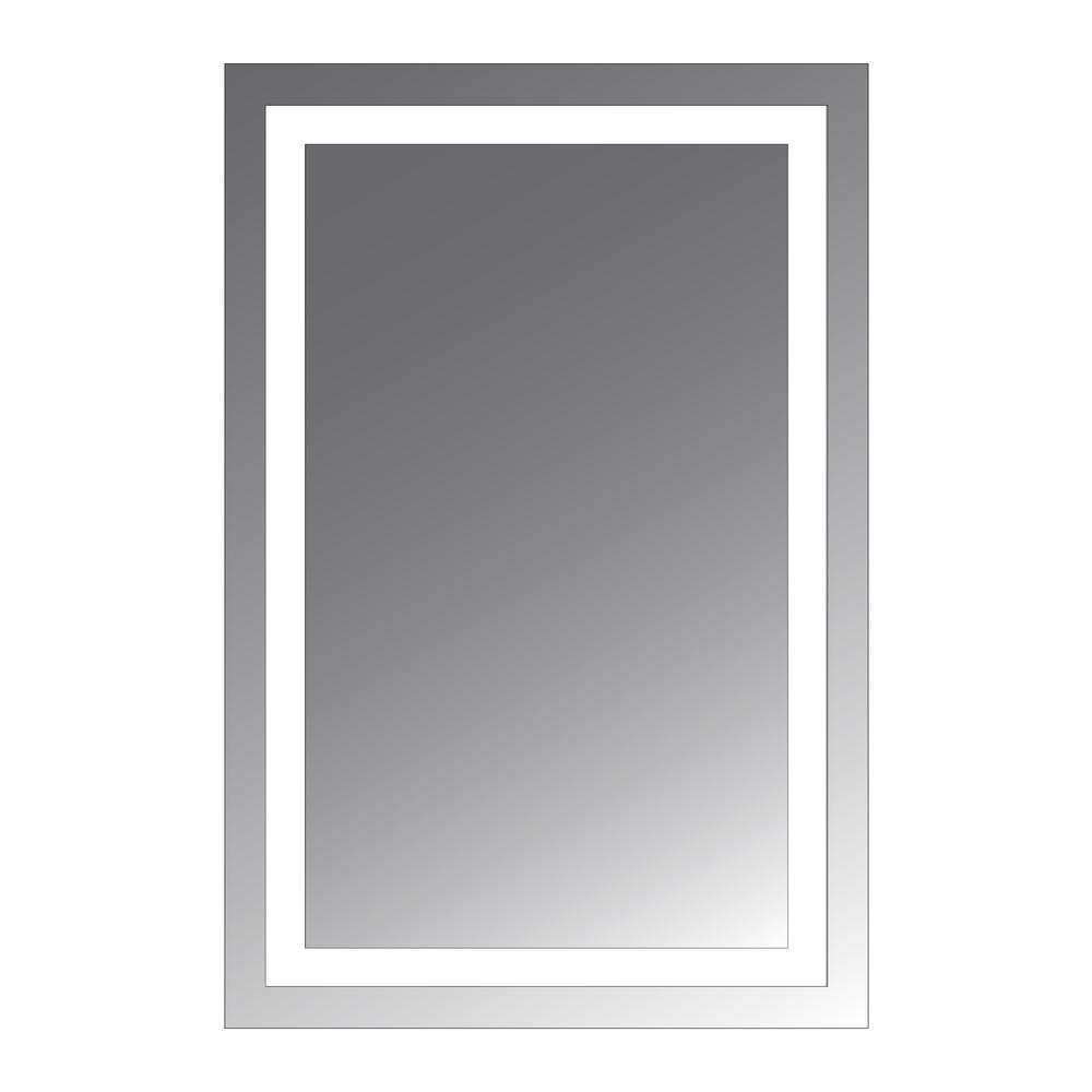 Civis Usa Malisa 24 In W X 36 In H Frameless Rectangular Led Light Bathroom Vanity Mirror In Stainless Steel Cvma2436led The Home Depot