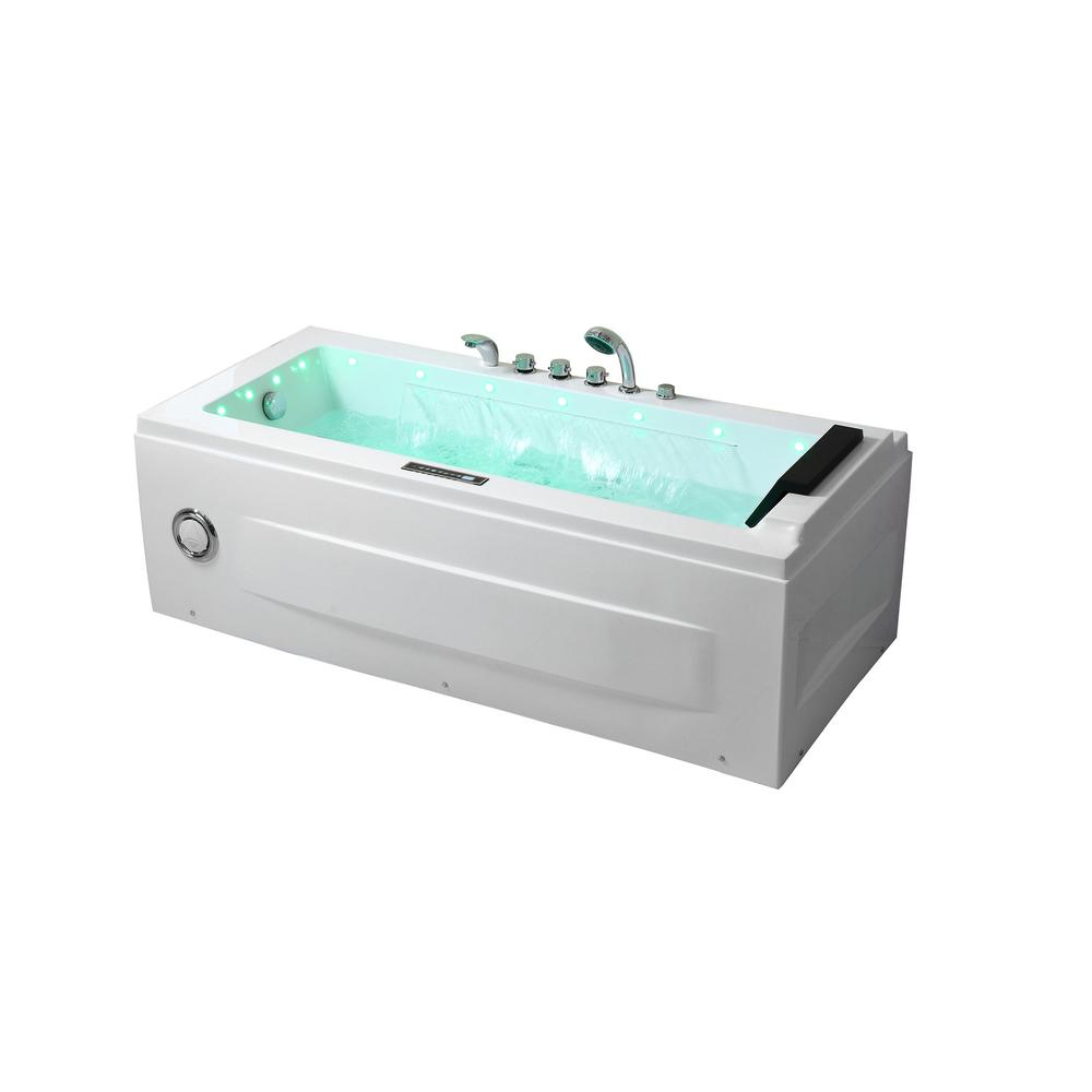 Jacuzzi Whirlpool Empava 67 In Hydro Massage Whirlpool Spa Air Bath Acrylic Jacuzzi Tub Flatbottom Freestanding Bathtub Twin Motor In White