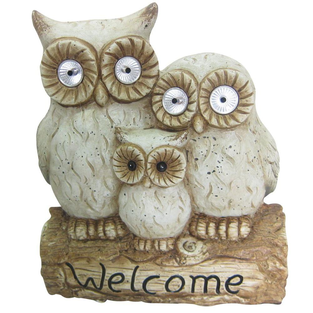Welcome Statues Garden Alpine Corporation 16 In Solar Owl Family Welcome Statue