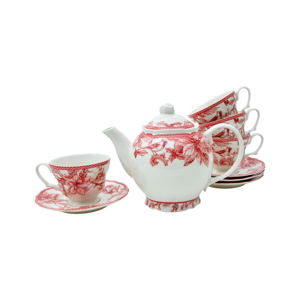 Teapot With Cup Christmas Lane Teapot With Cups And Saucers Set Of 4