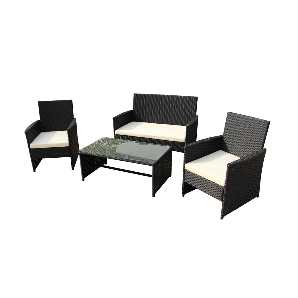 Rattan Sofa Near Me Aleko Seattle 4 Piece Rattan Furniture Set With Cream Cushions