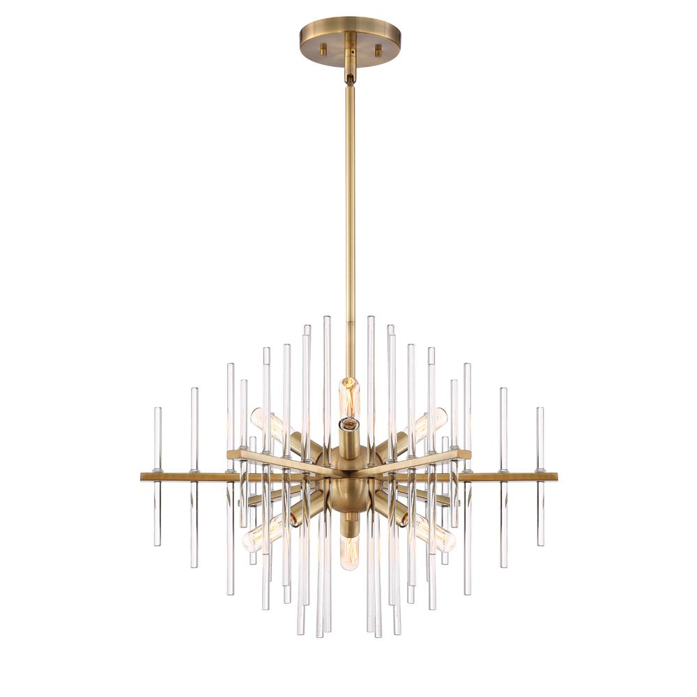 Designers Fountain Lighting Designers Fountain Reeve 6 Light Brushed Antique Bronze Chandelier With Clear Glass Rods Shade