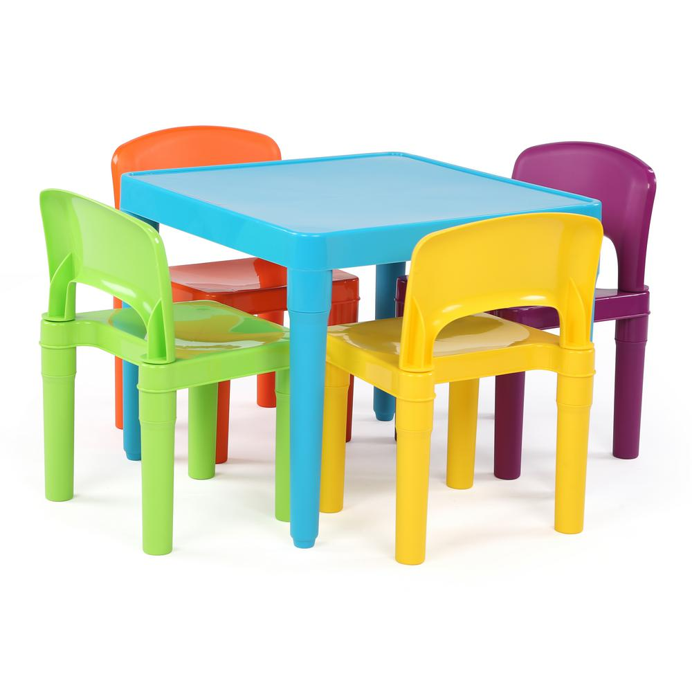 Kids Furniture Tot Tutors Playtime 5 Piece Aqua Kids Plastic Table And Chair Set