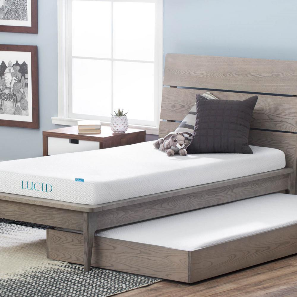 Beds Memory Foam Mattress Lucid 5 In Queen Dual Layer Gel Memory Foam Mattress