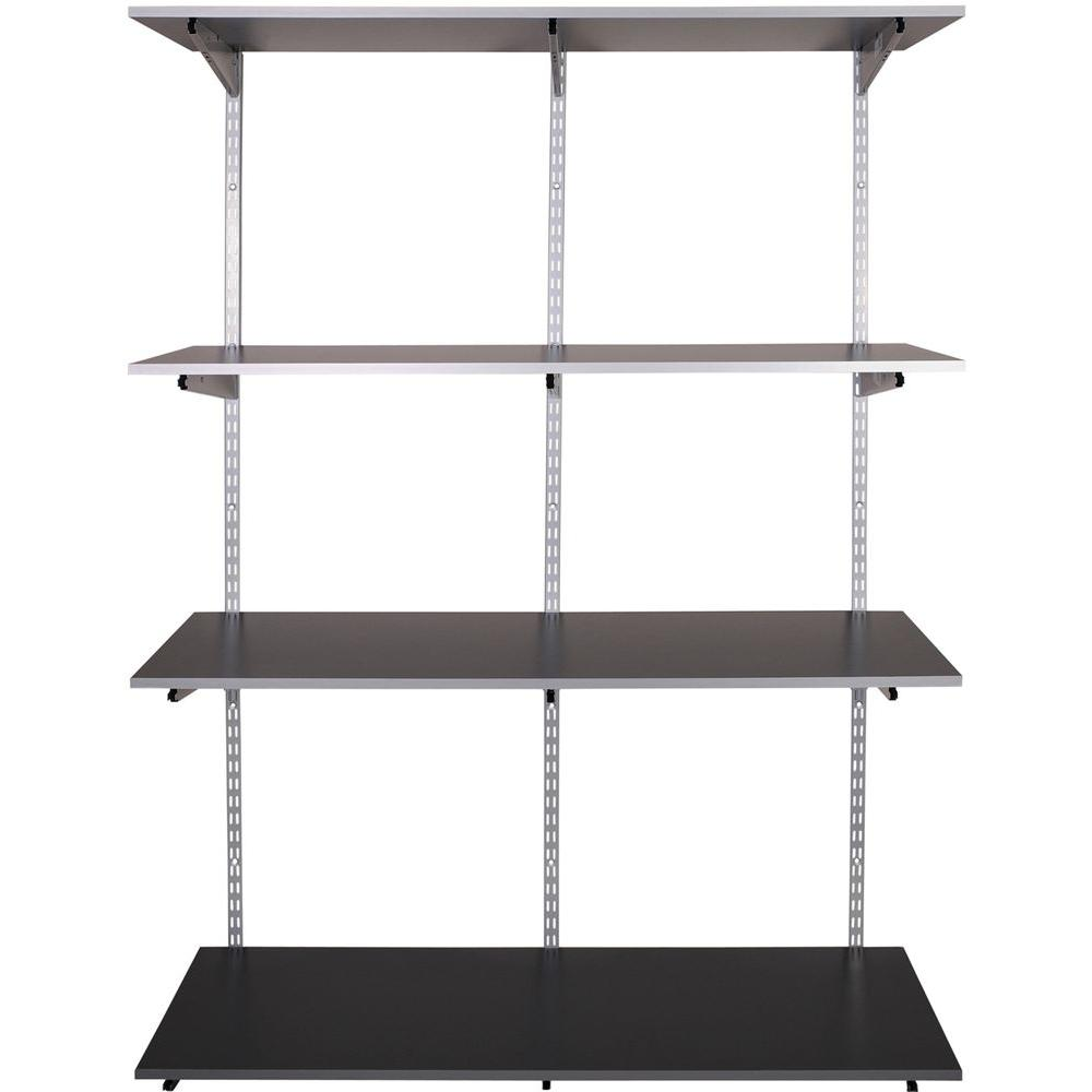 Store Shelving Rubbermaid Fasttrack Garage 4 Shelf 48 In X 16 In Laminate Shelving Kit With Rail