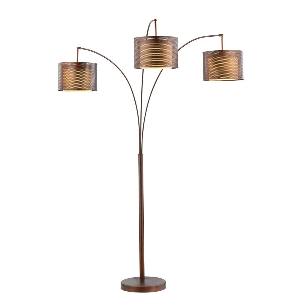 Led Lumière Artiva Lumiere Ii 83 In Led Antique Bronze Floor Lamp With Double Shade And Dimmer