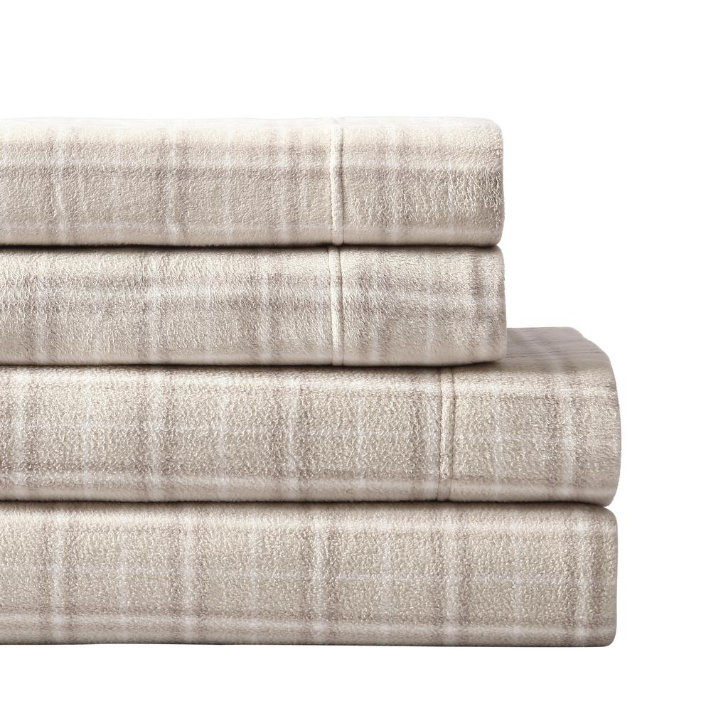 Plaid Taupe Morgan Home Mhf Home Taupe Plaid Ultra Plush Fleece Full Sheet Set