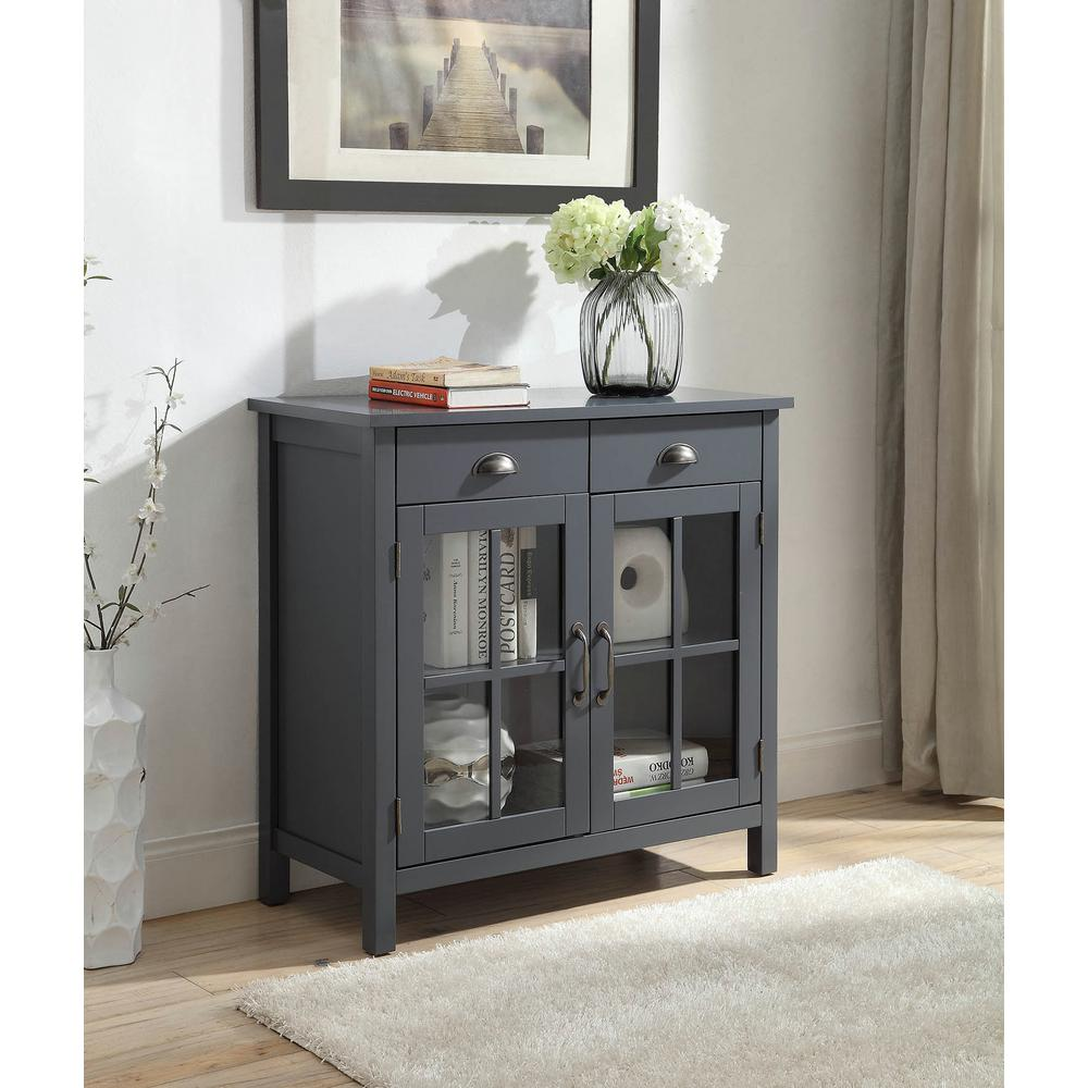 Cupboard Drawers Olivia 2 Drawers Grey Accent Cabinet With 2 Glass Doors