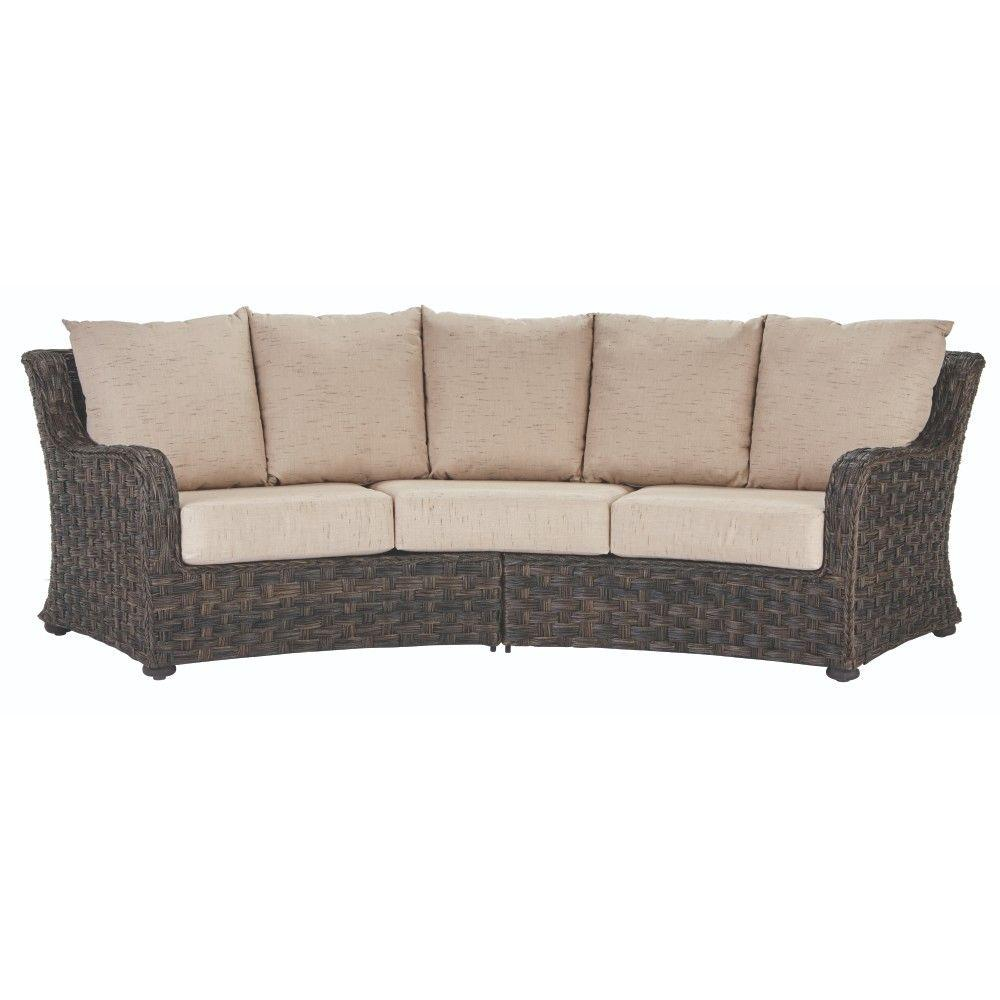 Curved Sofa Home Decorators Collection Sunset Point Brown 3 Seater Outdoor Patio Sofa With Sand Cushions
