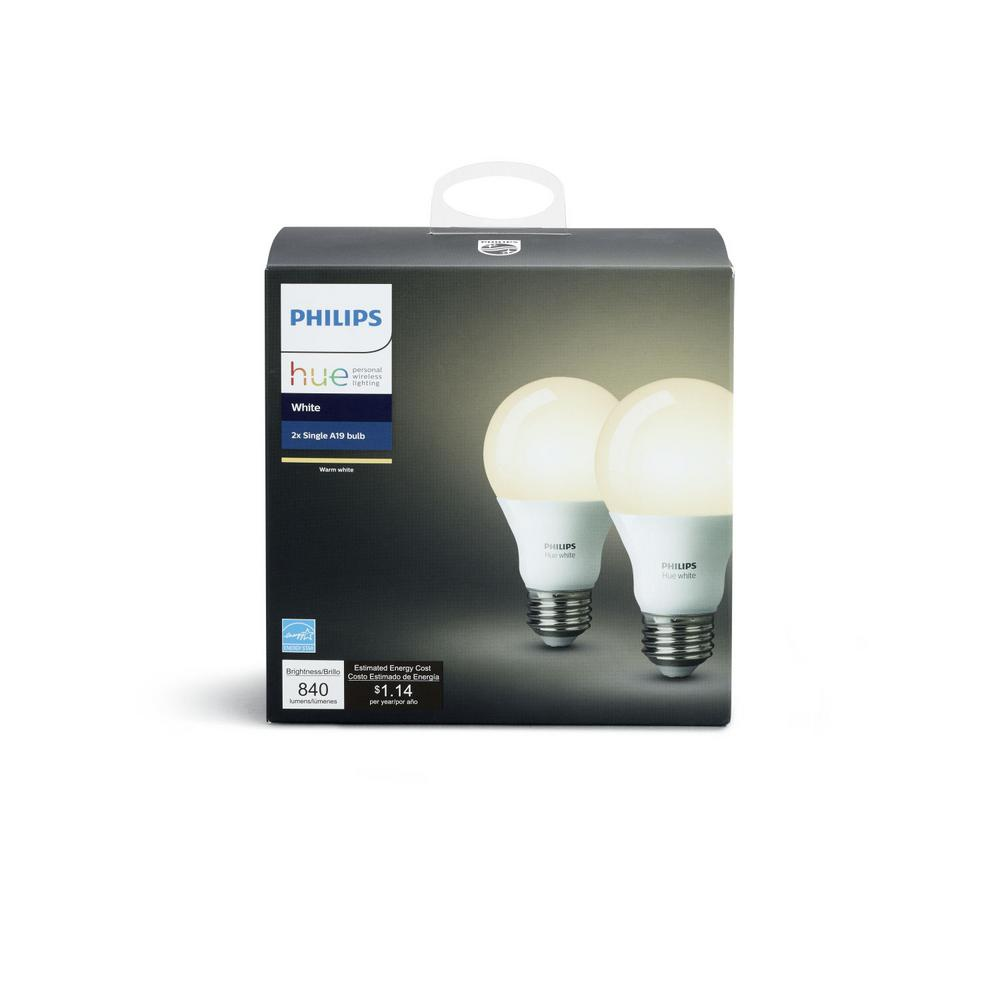 Hue Pack Philips Hue White A19 Led 60w Equivalent Dimmable Smart Wireless Bulb 2 Pack