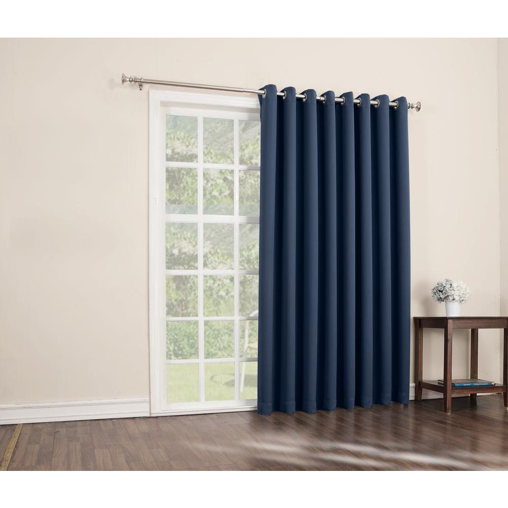Curtains For Large Patio Doors Sun Zero Blackout Gavin 84 In L Extra Wide Blackout Patio Panel In Navy