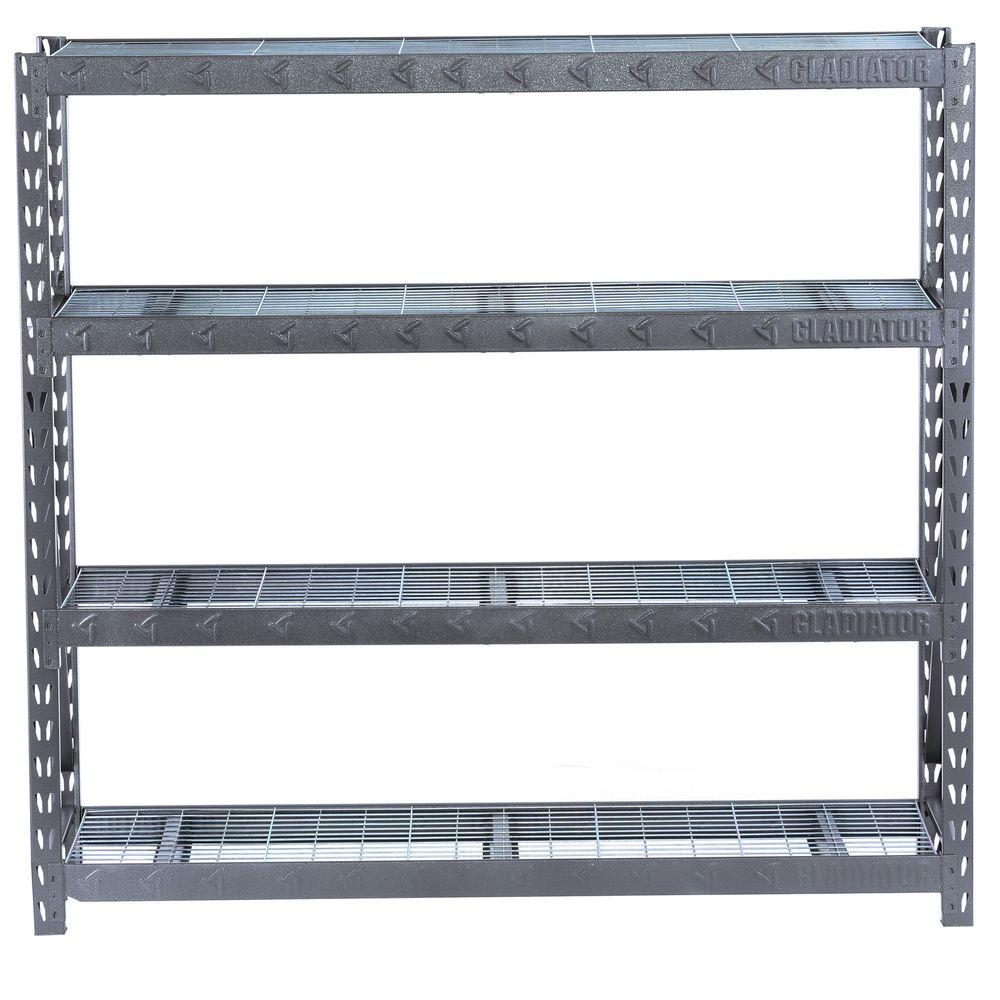 Garage Shelving Units Gladiator 72 In H X 77 In W X 24 In D 4 Shelf Welded Steel Garage Shelving Unit