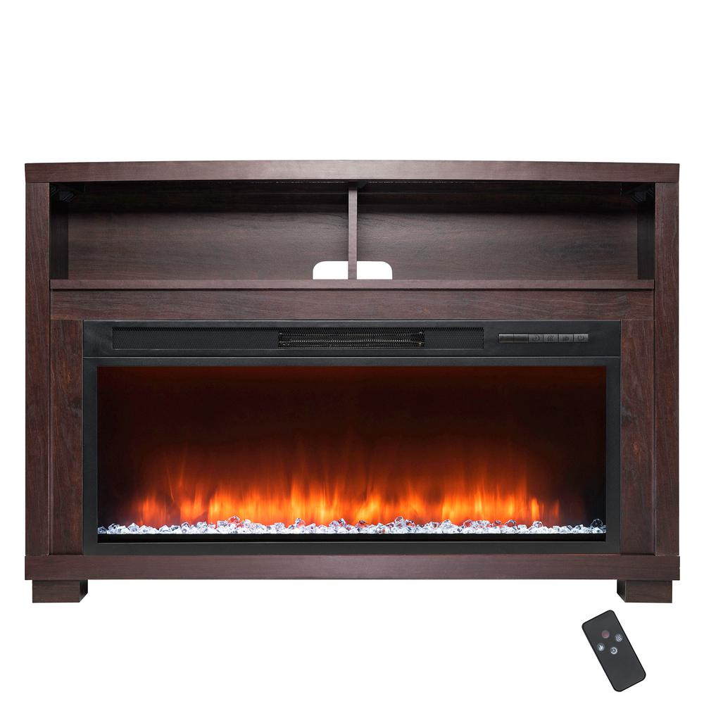 Fireplace Mantel Parts Akdy 44 In Freestanding Electric Fireplace Mantel Heater In Wooden Brown With Tempered Glass Crystals And Remote Control