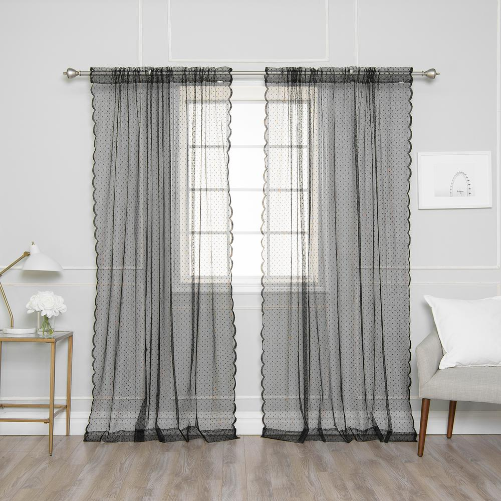 Cheap Stylish Curtains Best Home Fashion 84 In L Black Sheer Lace Dot Curtain Panel 2 Pack