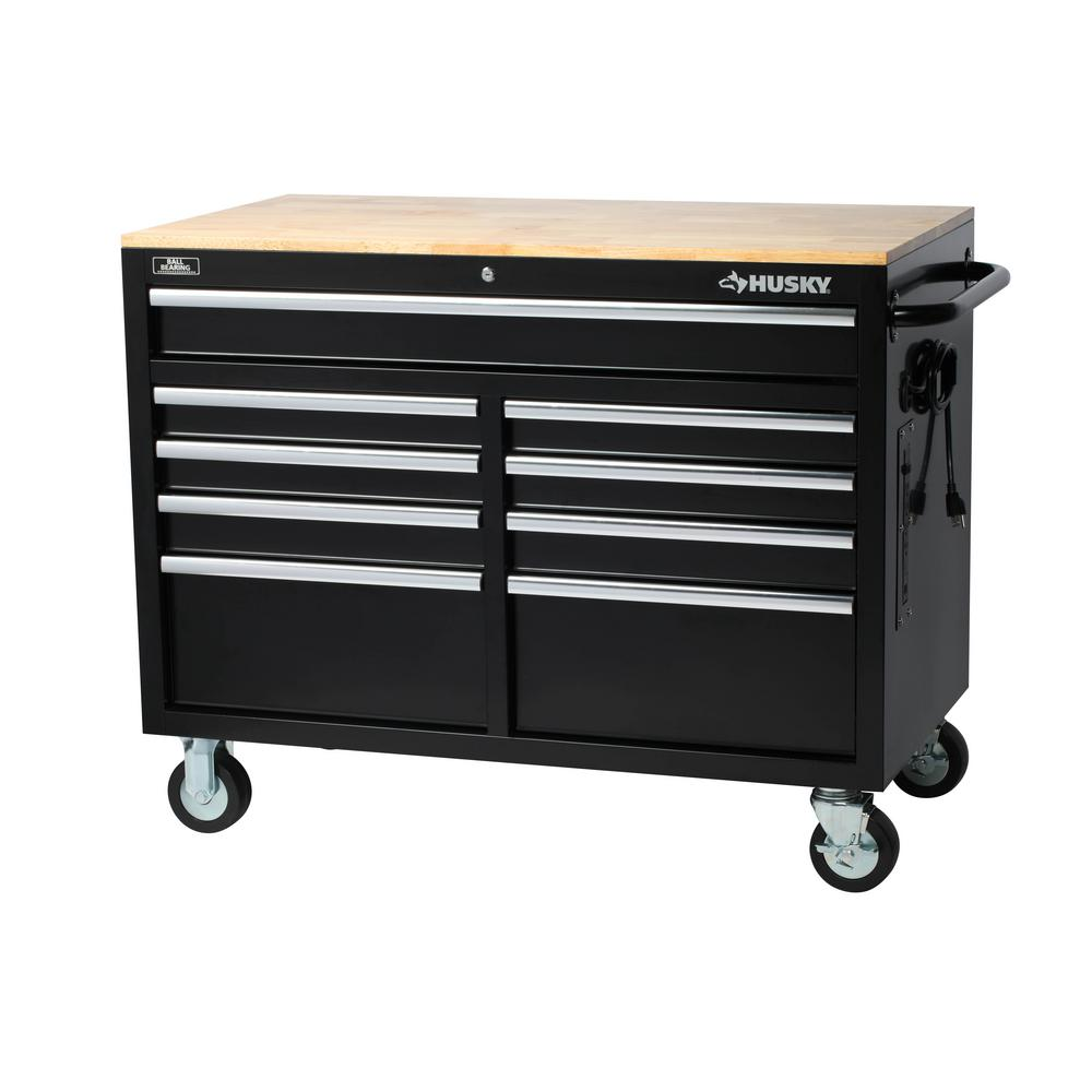 Depot Online Möbel Husky 46 In W X 24 5 In D 9 Drawer Mobile Workbench With Solid Wood Top In Black