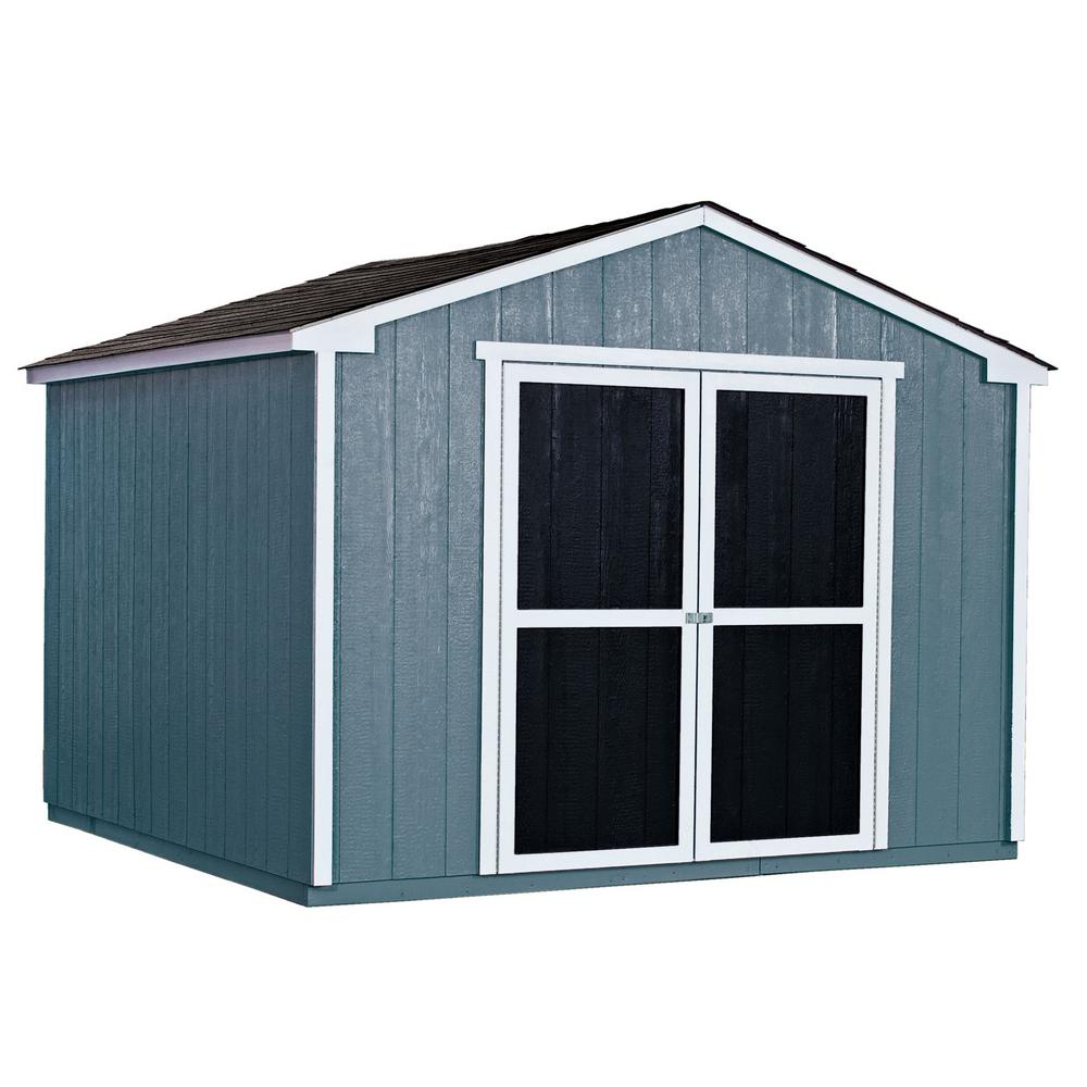 Home Depot Sheds For Sale Handy Home Products Installed Princeton 10 Ft X 10 Ft Wood Storage Shed With Onyx Black Shingles
