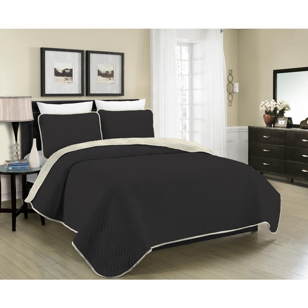 Black And Cream Duvet Sets Morgan Home Reversible Austin 3 Piece Black And Cream King Quilt Set