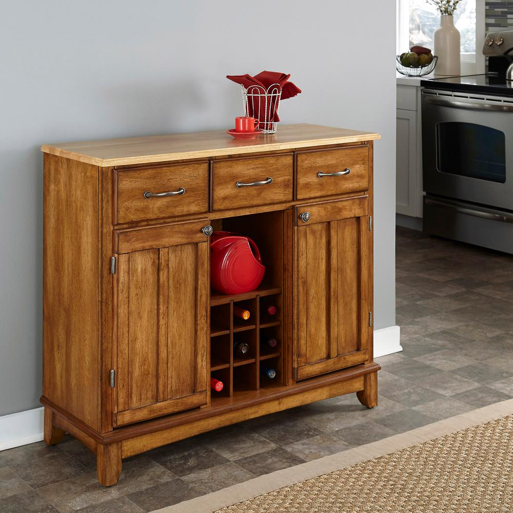 Buffet Kitchen Cabinet Cottage Oak And Natural Buffet With Wine Storage