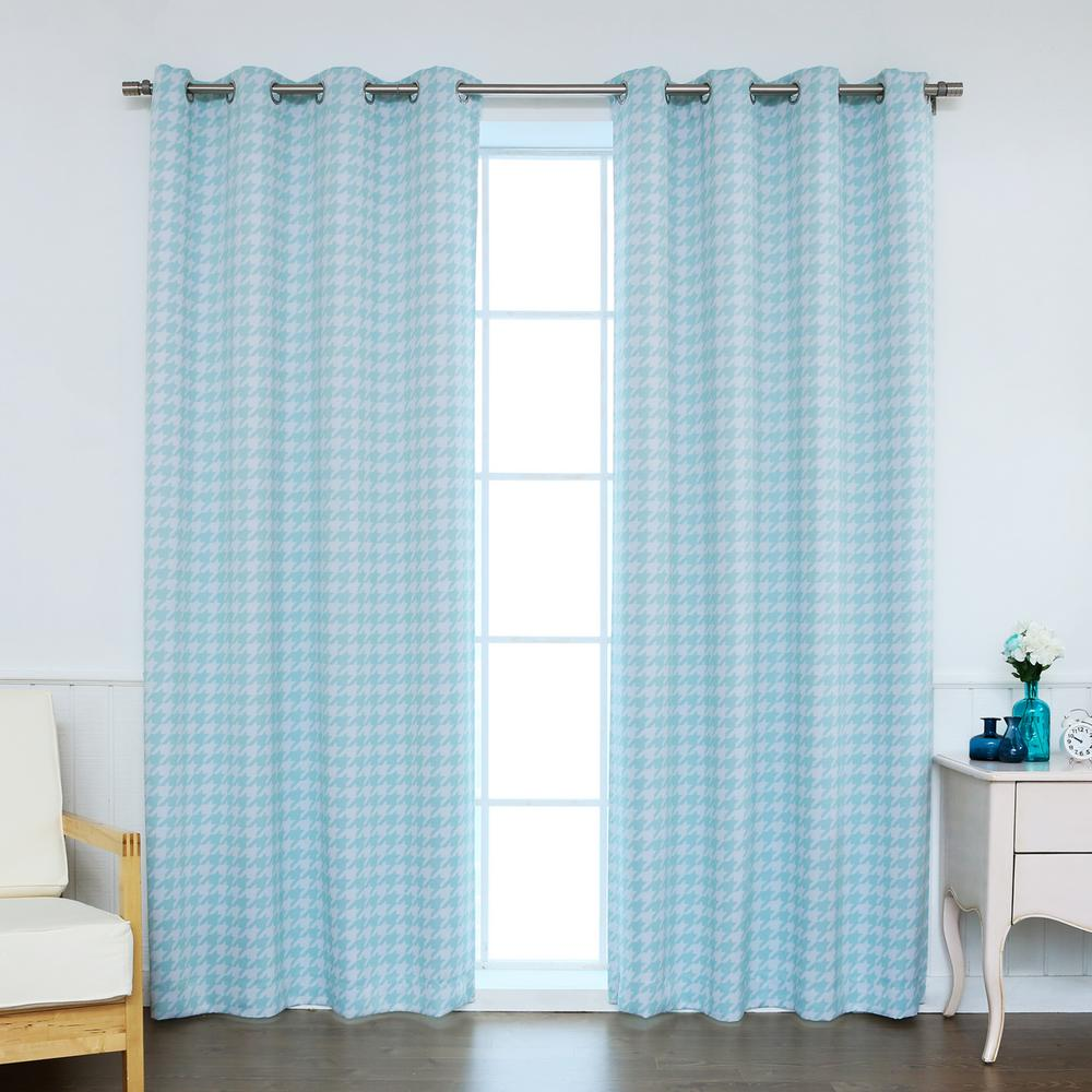 Curtains For A Blue Room Best Home Fashion 84 In L Polyester Classic Houndstooth Room Darkening Curtains In Sky Blue