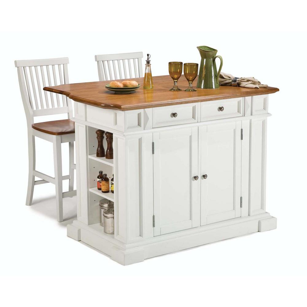 White Home Home Styles Americana White Kitchen Island With Seating
